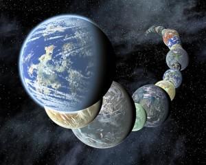 Taiteilijan näkemys maankaltaisista planeetoista. Kuva Nasa.