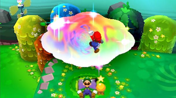 Mario loikkaamassa Luigin uneen Luigin nukkuessa Pi'illown päällä.