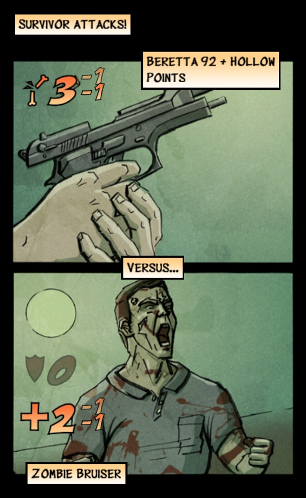 Kill that zombie!  Screen capture from Shelter by Survivalist Games.