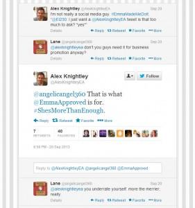 Kuvakaappaus Alex Knightleyn Twitter-tililtä.