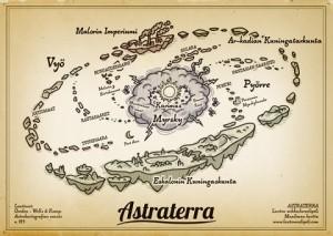 Astraterran kartasta näkyy maailman kolme kilpailevaa valtakuntaa: tähtiritarikunnan synnyttänyt Eskalonin kuningaskunta, vauhdilla teollistunut Malorin imperiumi ja peli-intoisen kuningattaren johtama Arkadian kuningatarkunta.
