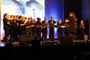 Nörttikuoro Unreality esitti aluantai-iltana musiikkia muun muassa Harry Potter -elokuvasarjasta. Kuva: Reetta Järvenpää