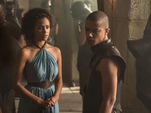 Missandei is one of the characters that speak High Valyrian, created by Peterson. Image via HBO Nordic.