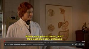 Tohtori MacMillan tekemässä työtään ja pitämässä puoliaan.