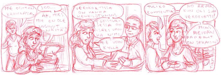 Jennin luonnos, jonka pohjalta Tenka esittää vielä mielipiteensä, ennen kuin lopullinen strippi saa muotonsa.