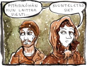 Ruutunäyte Elossa veden alla -sarjakuvakertomuksesta, jolla Jenni Mutenia ja Tenka Issakainen osallistuivat vuoden 2014 Pohjoiseen sarjakuvakilpaan.