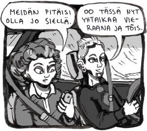 Aloitusruutu Lapin yliopiston taideopiskelijoiden LTT-sarjakuvalehden kolmanteen numeroon tehdystä neljän sivun kertomuksesta keväältä 2014. Kivoja kuvia -kertomuksessa Jarno ja Ronja menivät naimisiin, mutta Happy ja Laura olivat suuremmassa roolissa.