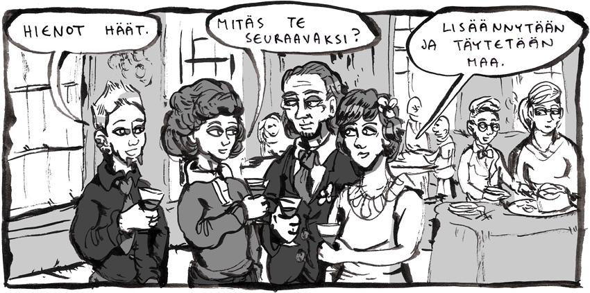 Ruutu Kivoja kuvia -kertomuksesta. Itäpuolentien hahmot Happy ja Laura juttelevat hääparin kanssa ja Hannamari ja Jere ovat kameoroolissa taustalla.