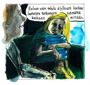 Ruutu Mielisairaalan kesätyttö -sarjakuvasta. Viivi Rintanen.