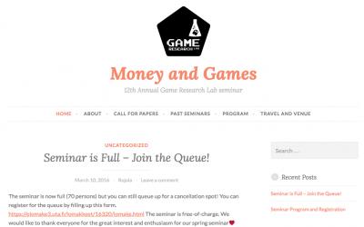 Pelit ja pelien rahat – Money & Games -seminaari