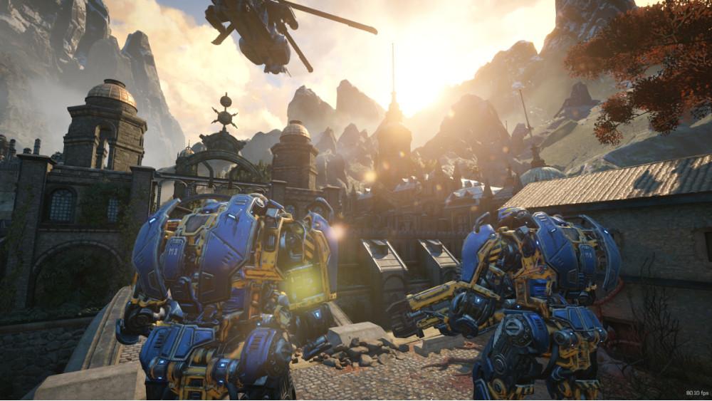 Kaksi jättiläisrobotti marssii kohti palatsimaista rakennuskompleksia. Kirkas aamun auringonvalo loistaa jylhien vuorten takaa.