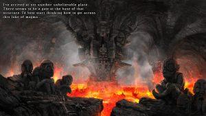 Laavajärven keskellä on mystinen temppeli.  Mutta älä sinä siitä välitä, sillä tarina ei kerro enempää.