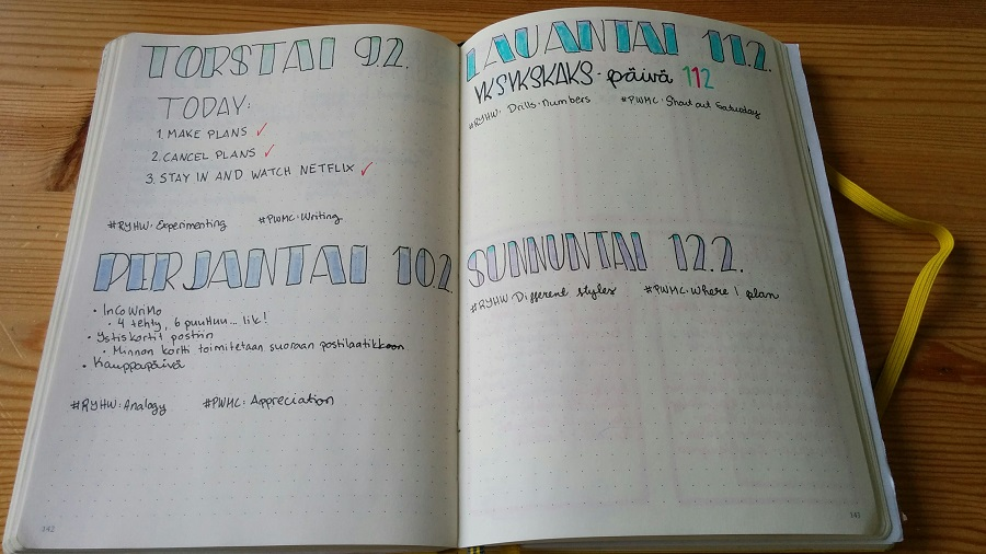Bullet Journal päiväloki
