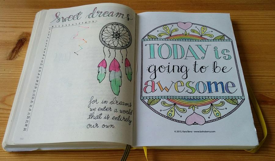 Bullet Journal uni ja värityskuva