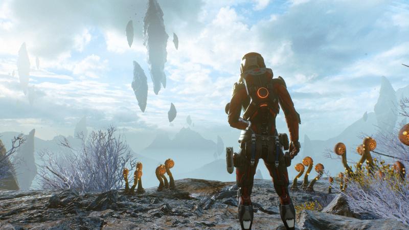 Pathfinder katsoo horisonttiin, jossa leijuvat vuoret.