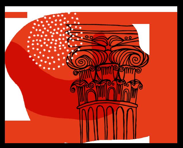 Kuvituskuva, pylväs punaisella taustalla