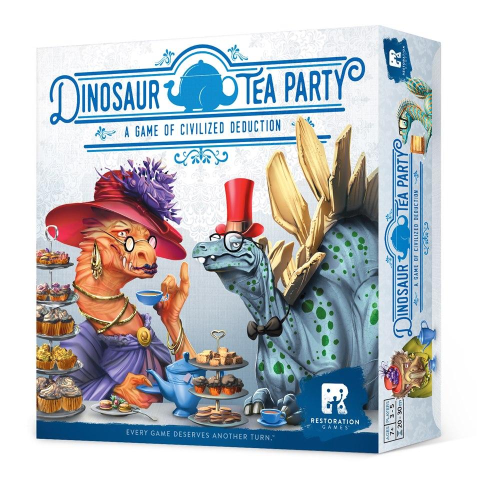 Kuvassa Dinosaur Tea Party -pelin kannesta, jossa kaksi dinosaurusta hienoissa hatuissa ovat teekutsuilla.