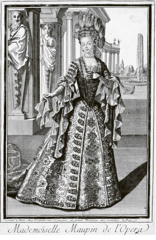 Kuva Maupinista röyhelöinen mekko päällään.