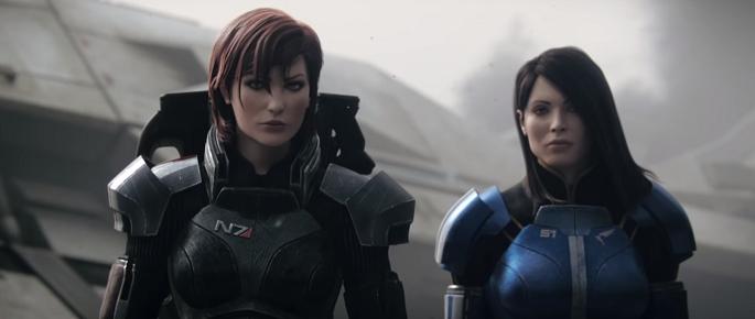 FemShep eli naispuolinen Sheperd pelistä Mass Effect. Seurana toinen nainen.