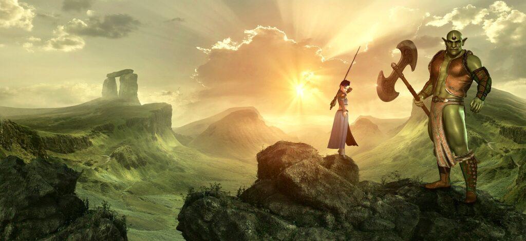 Kuvassa aurinkoinen fantasiamaisema, ihmismäinen naiseksi oletettava hahmo sauva kädessään sekä vihreä örkki kirves kädessään.