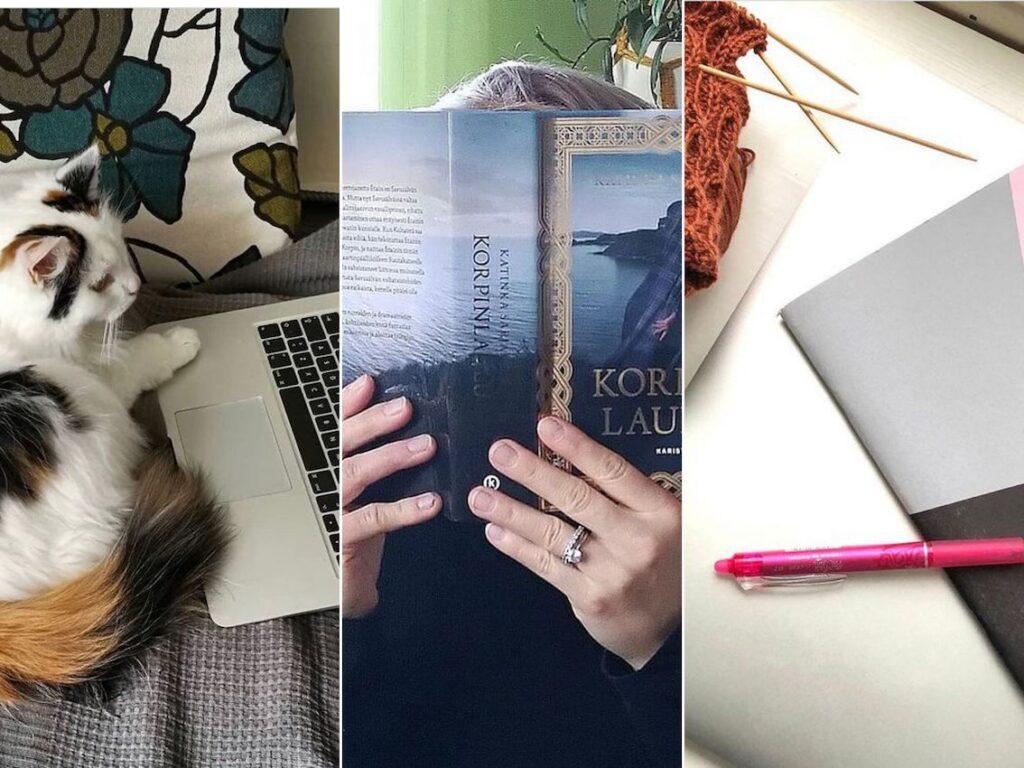 Kolme kuvaa: Ensimmäisessä kissa tietokoneen äärellä, toisessa Korpinlaulu-kirja kirjailijan käsissä, kolmannessa kynä ja kirjoitusvihko.